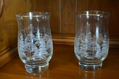 2 Vintage Arby's Libbey Glasses Tumbler White Winter Scene Gold Holiday 1980's