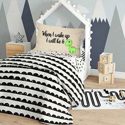 When I wake up I will be 6 cushion cover boy toddler blue nursery bedroom kid