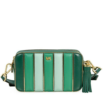 7eea565a8c2011 Michael Kors Small Quilted Tri-Color Leather Camera Bag- Racing Green Multi