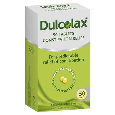 * Dulcolax Constipation Relief 50 Tablets Bisacodyl 5Mg Stimulates The Bowel