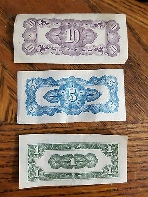 Japanche Regeering 10, 5, and 1 Cent Notes. WWII Wartime Notes