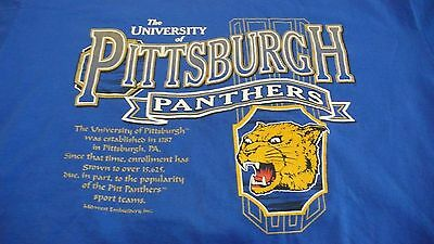Vtg. University Of Pittsburgh Panthers Xl Blue T-Shirt Made In Usa
