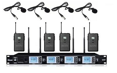 4 Channel Wireless Microphone UHF Wireless Lavalier Lapel Tie Clip on Microphone