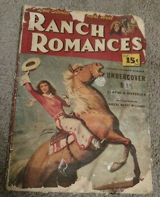 Vintage Western Pulp Magazine Ranch Romances 1940's rough shape J George Janes ?