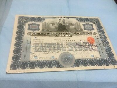 Marconi Wireless Telegraph Company.....1919 Stock Certificate