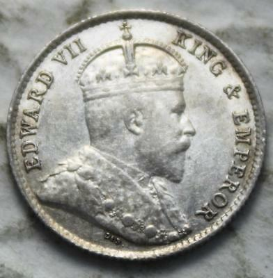 Hong Kong 1905 Silver 5 Cents, Nice Grade, Old Date King Edward VII