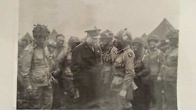WWII Photo of GEN Eisenhower with 101st Airborne Troopers Prior to D Day Jump