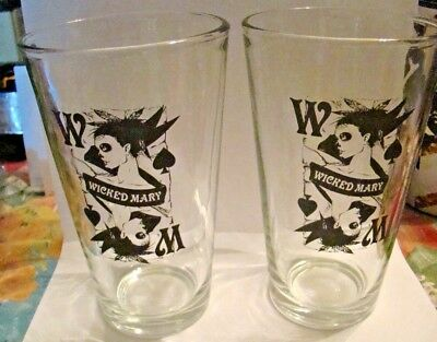 """Wicked Mary Bloody MaryUnique Rare Set of 2 Drinking Glasses Liquor Whiskey 6"""""""