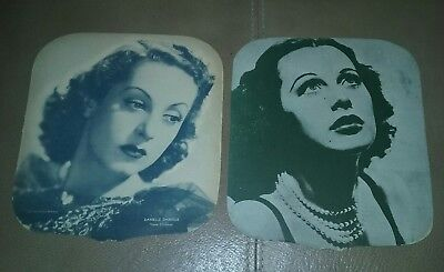 """Antique (2) """"Hand Fans"""" 1950's Hollywood / Vision Leigh & Danielle Darrieux"""