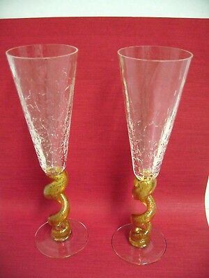 """Union Street Glass """"spiral Gold"""" / Pair Of 10"""" Fluted Champagne Glasses"""