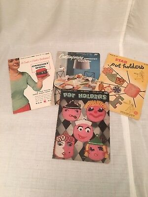 Lot of 4 Crochet Pattern Books Vintage, 1944, 1954-1956