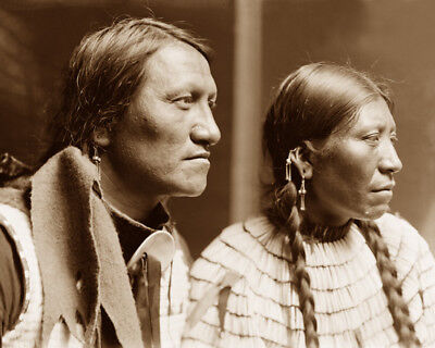 Chief Charging Thunder & Wife 1898 Sioux Native American Sepia Photo