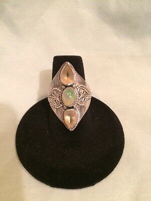 Antique Silver ring with citrine and opal all genuine size seven