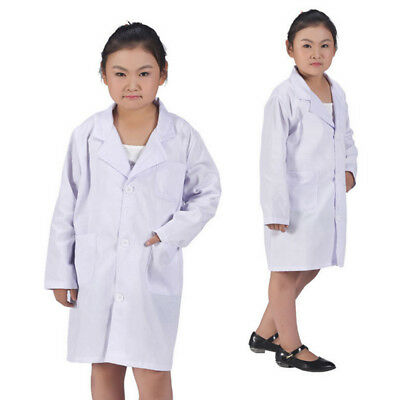 Kids White Coat Lab Doctor Scientist Fancy Dress Costume Performance Clothing