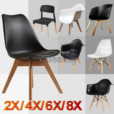 Retro Replica Eames Eiffel PU Padded DSW Beech Dining Chairs Cafe Kitchen