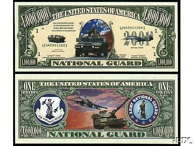 USA USAF National Guard Novelty Million Dollar Bill Funny Money Gag Gift Note