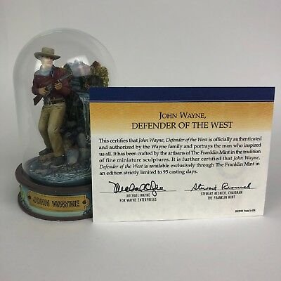 "John Wayne ""Defender of the West"" Franklin Mint Hand Painted Figurine w/COA"