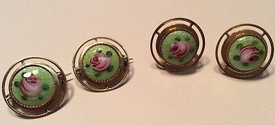 Vintage Gold Tone Flower Design Two Pins and One pair of Screwback Earrings