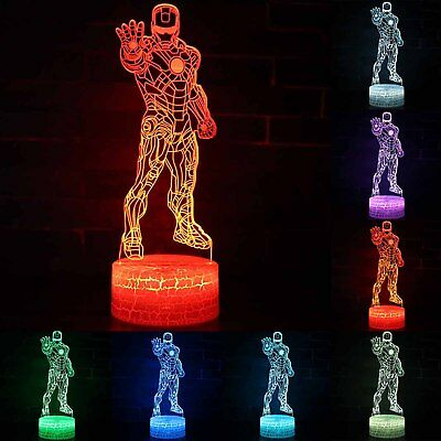 Super Hero Iron Man LED Night Light Color Changing Desk Table Lamp Kids Gifts