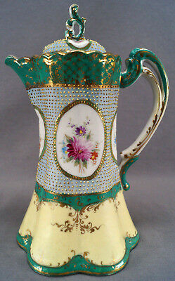 Nippon Green Blue & Yellow Gold Scrollwork & Moriage Beaded Chocolate Pot