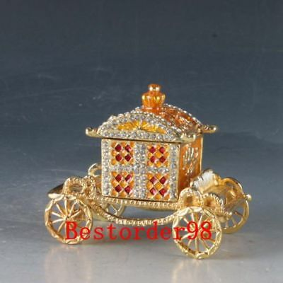 Chinese Cloisonne Handwork Carved Carriage Car Statue