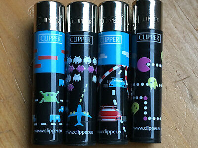 4, Clipper Lighters, Butane, refillable, full size, Atari Computer games
