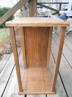 Vintage Oak/Glass Tabletop/Desk Trophy/Display Case W Hinged Door & Latch EUC