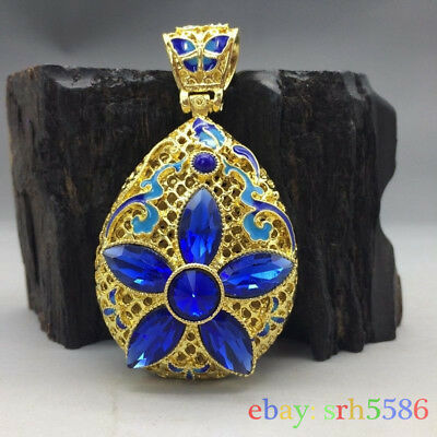 China's Tibet silver inlay cloisonne and handmade gemstone blue flower pendant