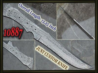"13.25""Custom made Rare Damascus hunting blank blade knife making suppliers 10887"