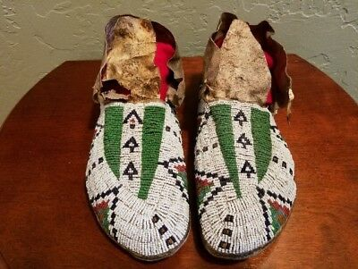 Sioux Beaded Men's Moccasins Circa 1880's to 1900