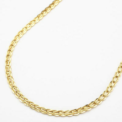 """24K Solid Yellow Gold 7g Folded Patterned Plate Link Necklace 16.5"""" From Japan"""