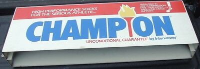 Vtg Red White & Blue Two Side Metal Sign Display Champion Socks Torch Interwoven