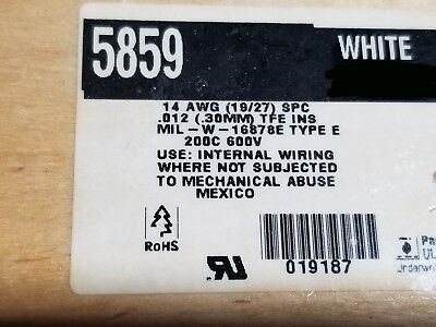Alpha Wire 5859 14awg M16878/4 Type E Silver (SPC) 200C Hook-Up Wire White /50ft