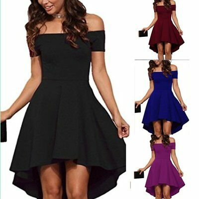 Women Short Sleeve Off Shoulder High Low Skater Cocktail Formal Swing Dress LW