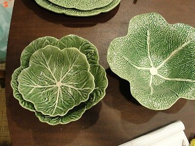 "Borballo Pinheir Cabbage 3 Service Bowls 11 1/2, 9"" And 12 7/8"""