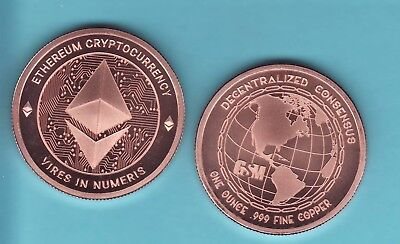 ETHEREUM  CRYPTO CURRENCY 1 oz. Copper Round  DECENTRALIZED SERIES  from GSM