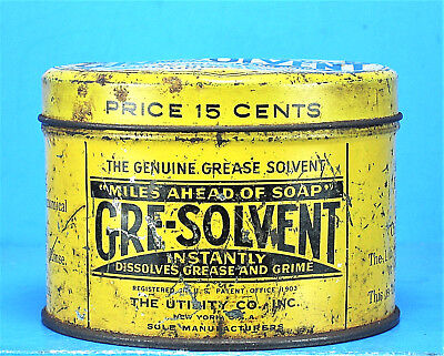 Rare Vintage GRE-SOVLENT Genuine Grease Solvent Hand Cleaner Can Tin