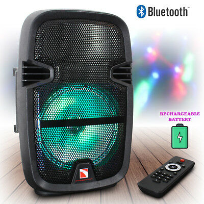 """Portable Bluetooth Party Speaker 8"""" 350W Battery Powered with LED Lights"""