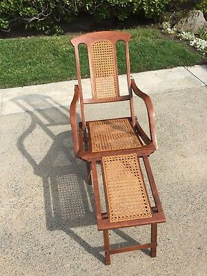 Antique Vintage Wood Folding Chase Lounge Steamer Ship Deck Chair 1890's