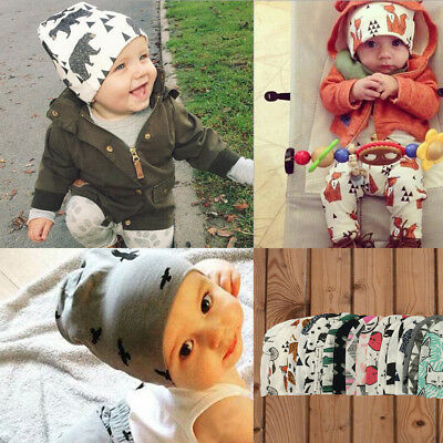 Cute Cartoon Star Printed Winter Warm Hat Baby Toddler Kids Cotton Beanie Cap