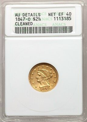 1847-O Liberty Head Gold ANACS AU Details $2.50 Quarter Eagle Only 124k Mintage
