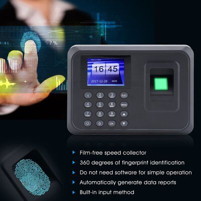 Clocking In Attendance Check Time Recorder Clock Machine Fingerprint + Password