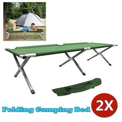 2X Folding Camping Single Bed Portable Aluminum Leisure Stretcher w/ Carry Bag