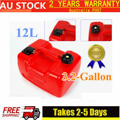 Portable Outboard Boat Engine Fuel Tank Plastic 12 Litre Low Profile w/Connector