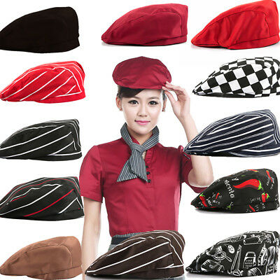 Unisex Striped Grid Cap Professional Kitchen Catering Waiter Cook Chef Hat Smart