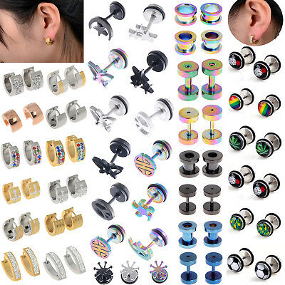 Men Women Unisex Punk Gothic Titanium Stainless Steel Stud Screw Back Earrings