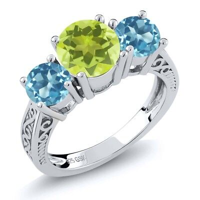 2.20 Ct Yellow Lemon Quartz Swiss Blue Topaz 925 Sterling Silver 3-Stone Ring