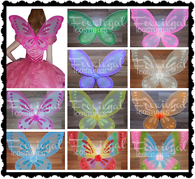 NEW Glitter Fairy Wings Costume Party Kids Adults One Size