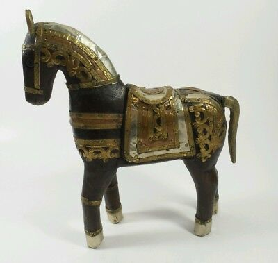 Vintage Hand-Carved Wooden Horse Inlaid Copper Brass Aluminum - Figurine Statue