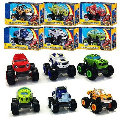6x Blaze and the Monster Machines Vehicles Plastic Toy Racer Cars Trucks Kid Set